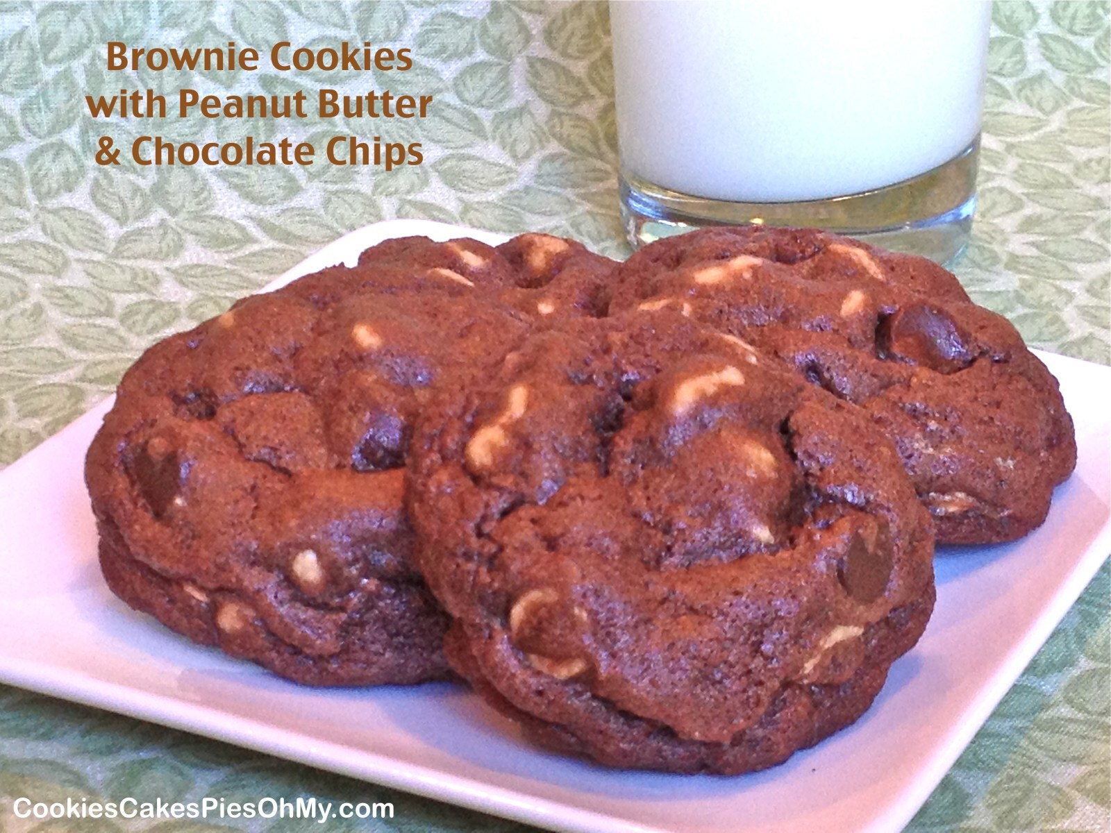 Brownie Cookies with Peanut Butter & Chocolate Chips