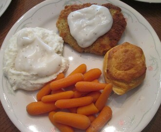 Chicken Fried Cubed Pork Steak w/ Mashed Potatoes, White Gravy, Boiled Mini Carrots,…