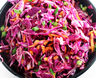 Red Cabbage Slaw with an Asian Dressing