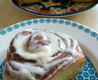 Sweet cinnamon rolls with vanilla cream cheese icing