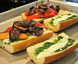 Roasted Vegetable, Goat Cheese and Pesto Sandwich
