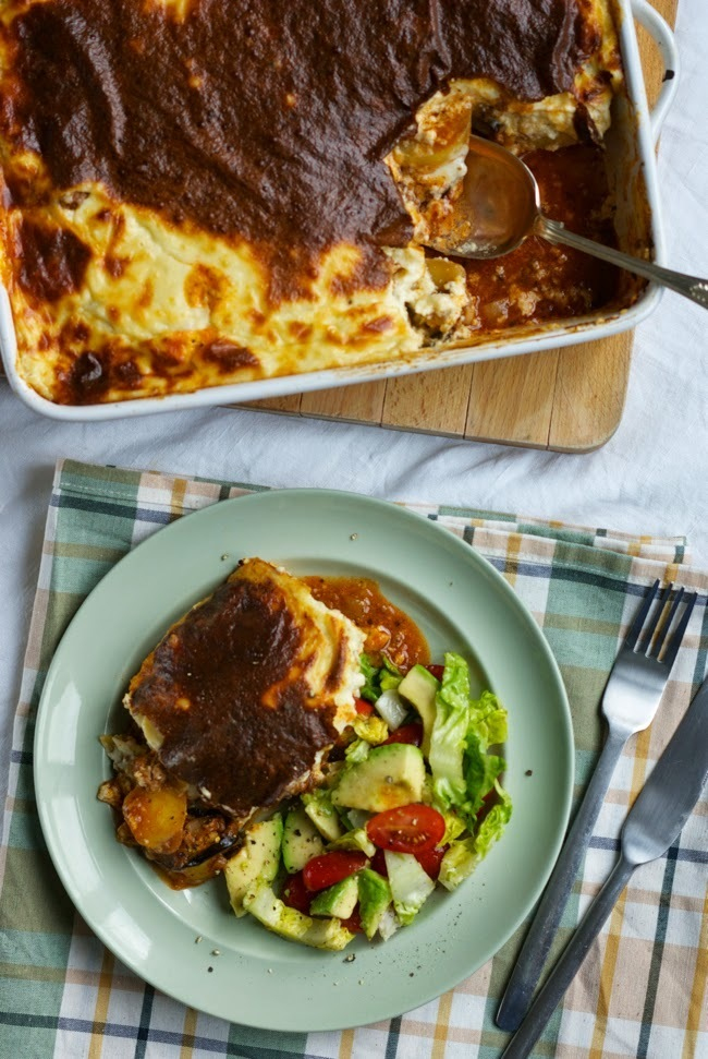 Easy layered moussaka with potatoes