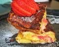 Chinese Elvis French toast: Salted duck egg custard and strawberry stuffed French toast brulee