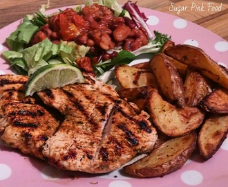 Slimming World Recipe:- Mexican Turkey Steaks & Herby Garlic Wedges