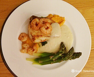 Pan Seared Halibut with Prawns and White Vermouth Sauce