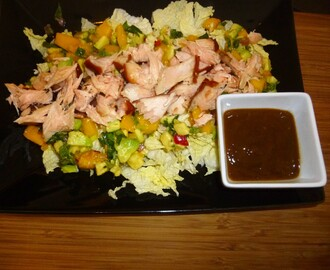 Hot Smoked Salmon with a Mango and Avocado Salsa and a Tamarind and Mango Dressing Recipe