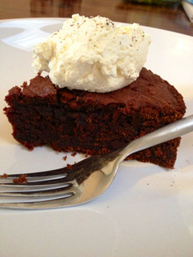 Ginger Spiced Beetroot and Chocolate Cake served with Cardamom Cream