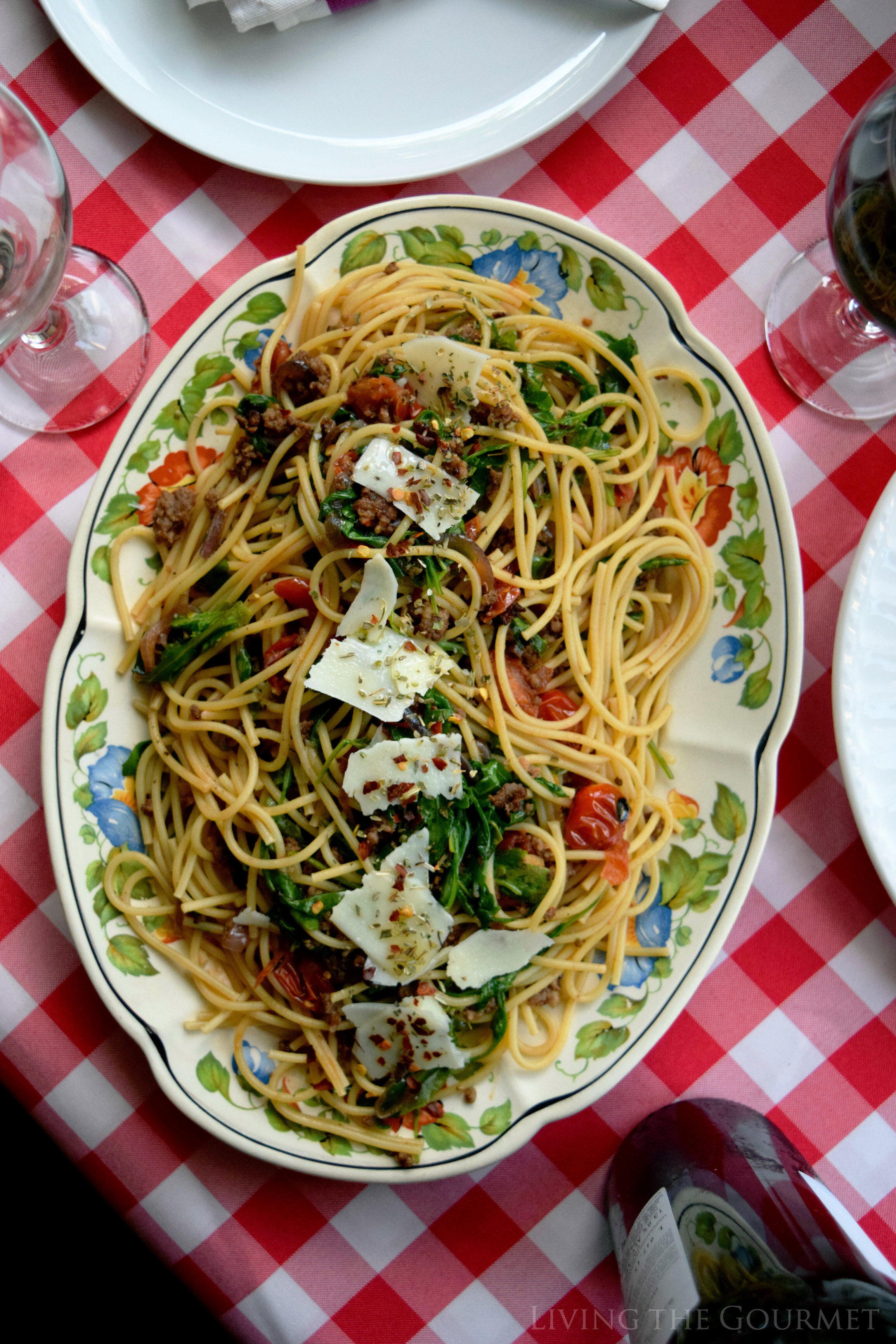 Spaghetti with Roasted Tomatoes, Arugula, and Sausage