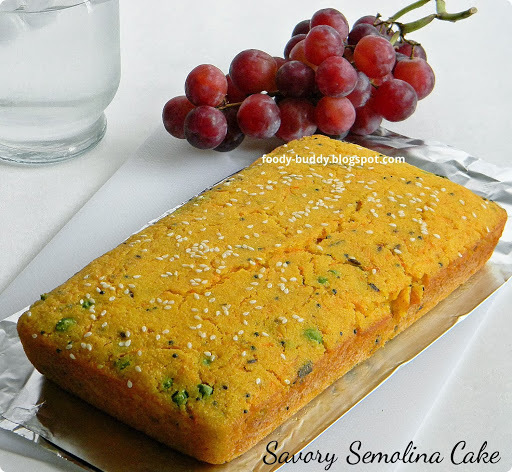SAVORY SEMOLINA CAKE RECIPE | EGGLESS CAKE | INDIAN SNACK CAKE