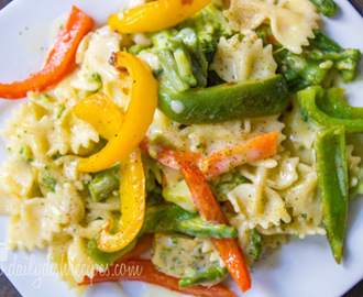 Garlic and Roasted Bell Pepper Farfalle #pepperparty