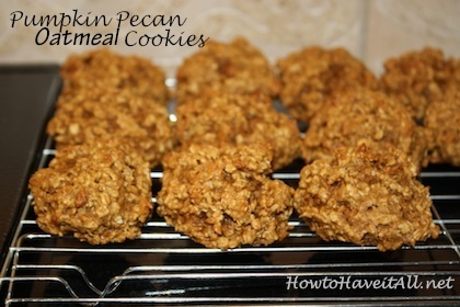 Pumpkin Pecan Oatmeal Cookies Recipe