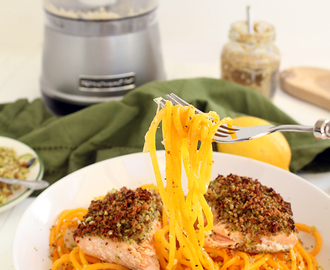 Broccoli Breadcrumb Baked Salmon with Butternut Squash Noodles (on KitchenAid!)