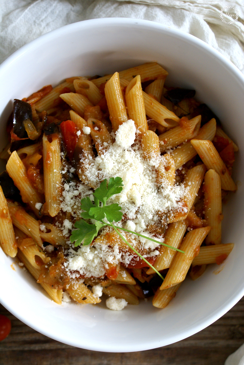 Eggplant, Caramelized Onion, and Tomato Pasta