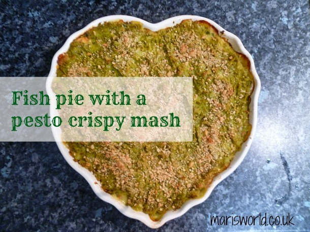 Fish pie with a pesto flavoured crispy topped mash