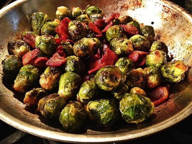 Caramelized Brussels Sprouts with a balsamic glaze