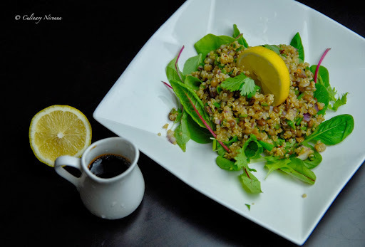 Quinoa and lentil salad with soy sauce, ginger dressing!