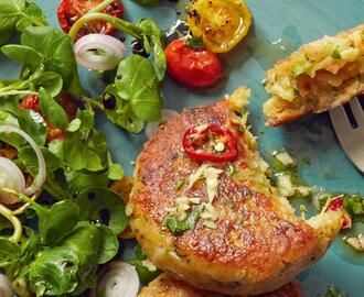Halloumi, Courgette and Herb Cakes