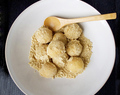 Kinako dango (rice dumplings with sweet roasted soy flour)