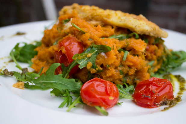 Arugula, Pesto & Oven Roasted Tomato-Sweet Potato Mash with Fish Schnitzel