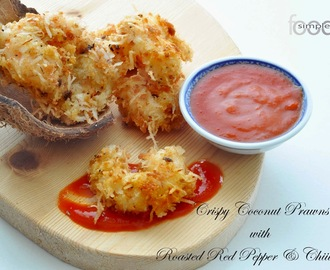 Crispy Coconut Prawns With Roasted Red Pepper & Chilli Dip