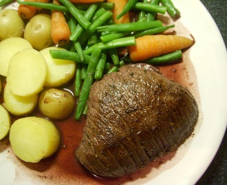Venison Steak with Red Wine and Juniper Sauce.