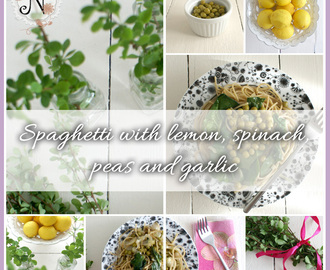 Healthy recipe: Spaghetti with lemon, spinach, peas and garlic / Spageti z limono, spinaco, grahom in cesnom