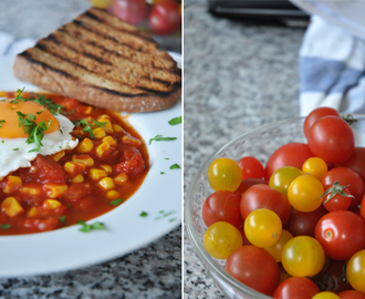 fresh form the garden [ Tomaten-Shakshuka mit Mais ]