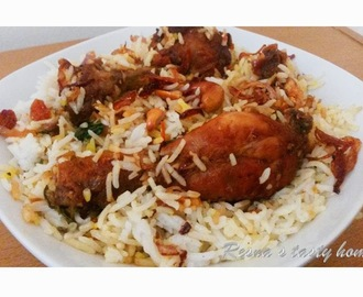 Fried chicken biriyani (Thalassery biriyani) - with stepwise picture