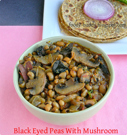 Black-Eyed Peas With Mushroom | Lobhiya Khumb Masala - Side Dish For Roti