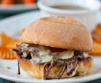 Slow Cooker Beef Brisket French Dip Sandwiches #SundaySupper