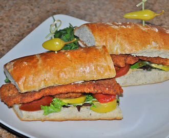 Cajun Turkey Tender Schnitzel with Heirloom Tomatoes and Alien Honey Mustard on an Herbs de Provence Hoagie Roll