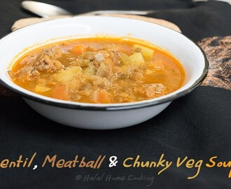 Lentil, Meatball & Chunky Vegetable Soup