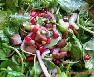 Spinach Salad with Pomegranate Seeds and Chestnuts & My Turkish Cooking Classes in Surrey & Istanbul in February!