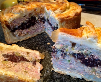 Piccalilli & black pudding pork pie with a cider jelly