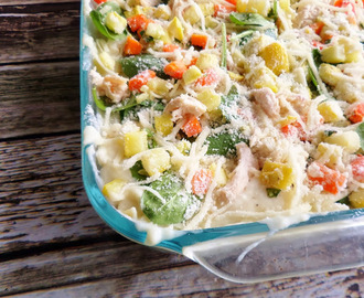 Roasted Veggie and Chicken White Lasagna