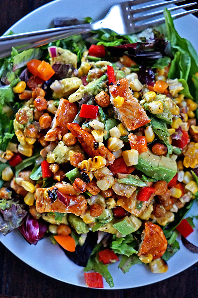 Southwest BBQ Chicken Salad with Apricots, Avocado and Grilled Corn