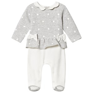 Mayoral Grey Polka Dot Velour Set with Scalloped Collar 2-4 months
