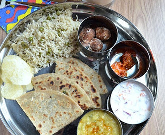 Simple North Indian Thali-Virtual Birthday Treat for Manjula