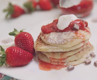 Chocolate Chip Pancakes with Strawberry Sauce