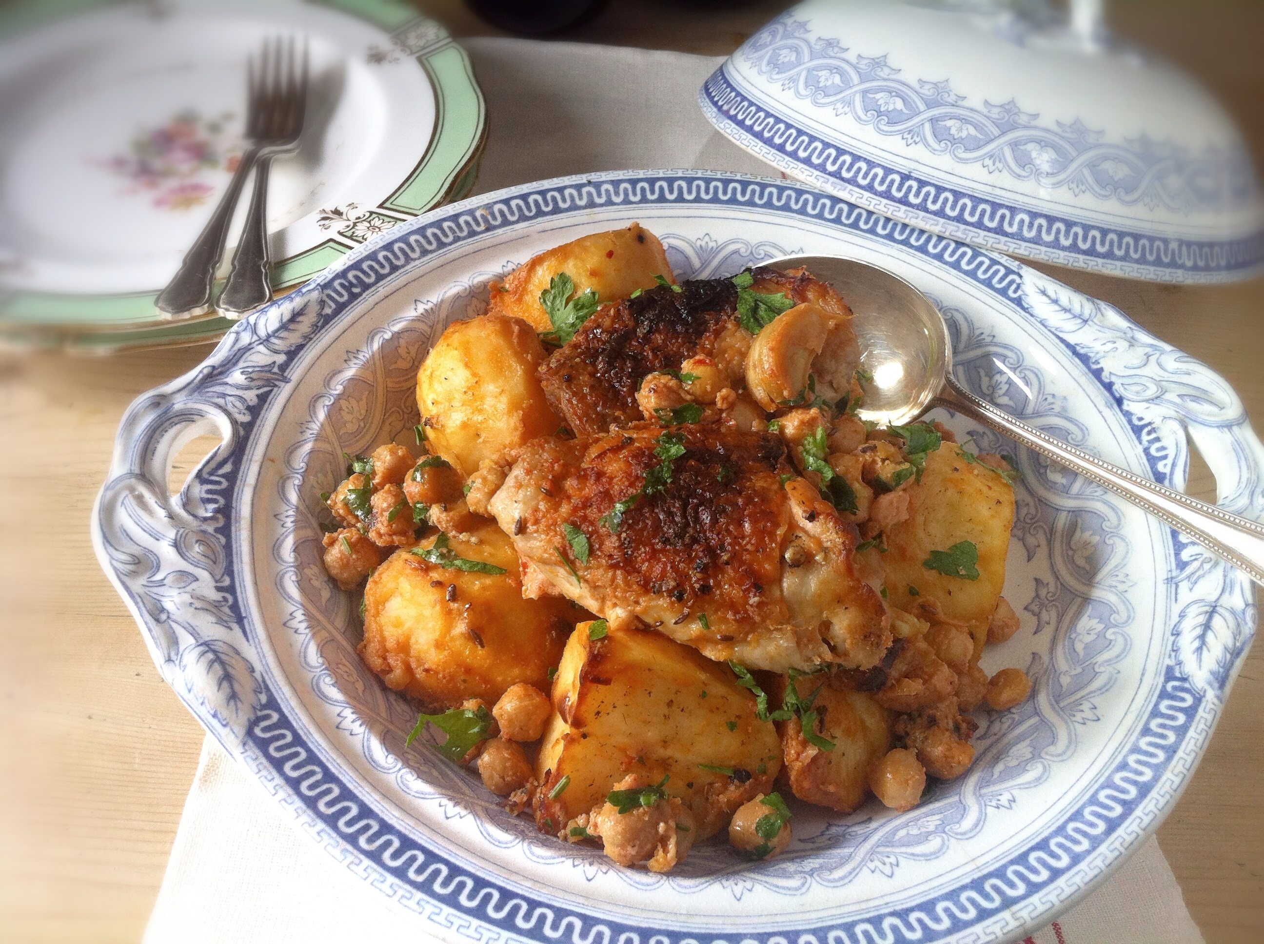 Extraordinary Roasted Chicken, Potatoes and Chickpeas