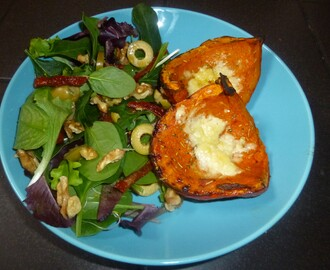 Baked Rosemary and Cheese Squash with a Side Salad Recipe