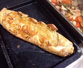 Cheese and onion roly poly, 57p/38p a portion