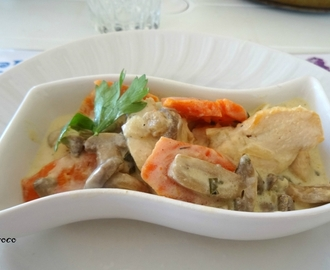 FRICASSEE DE POULET A LA SAUCE CREMEUSE MOUTARDEE