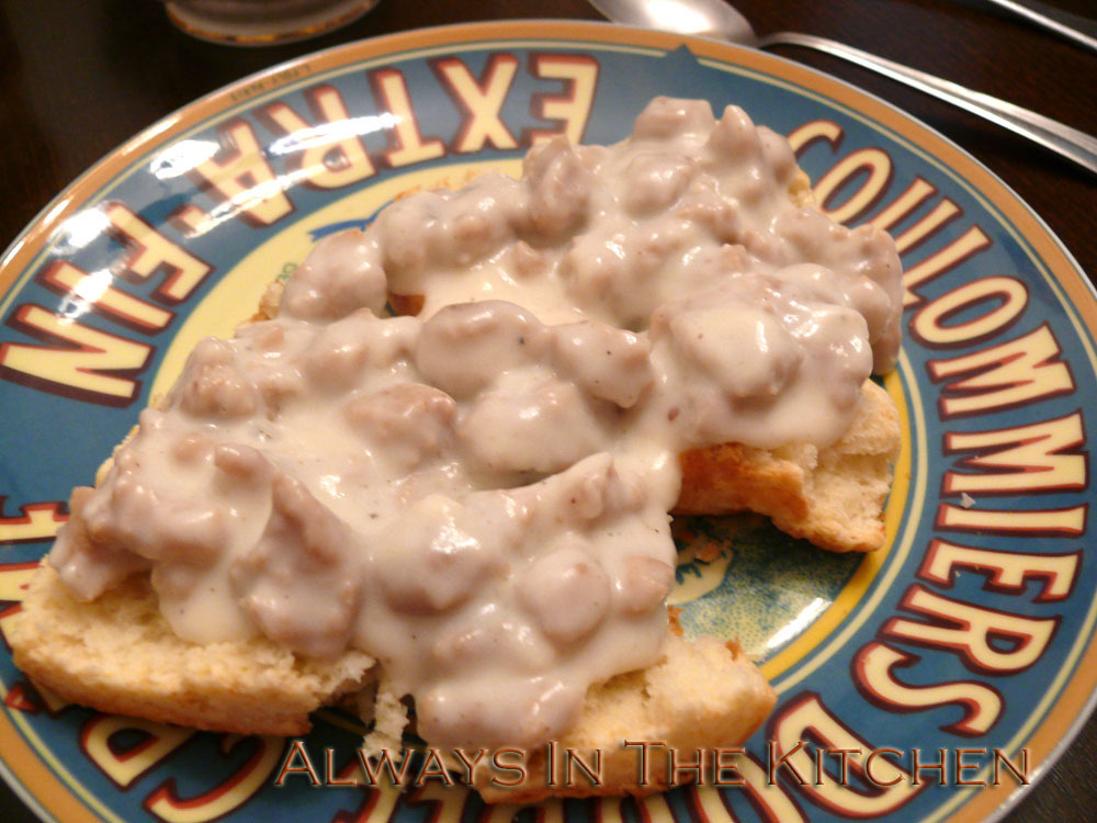 Breakfast at home: Biscuits & Gravy
