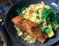 Moroccan-style salmon with lemony couscous recipe