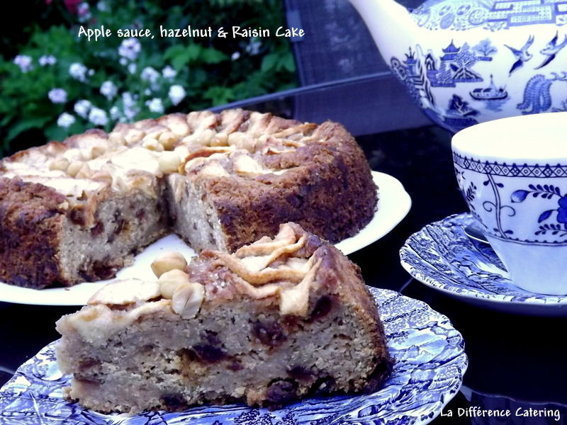 Apple Sauce, Hazelnut & Raisin Cake
