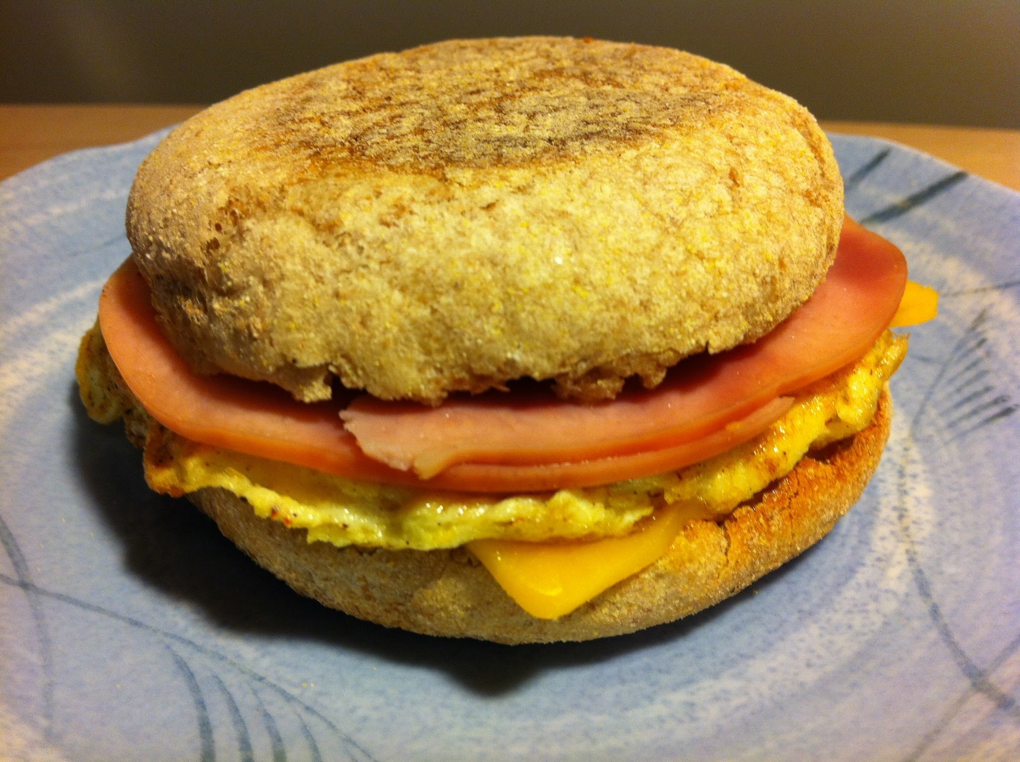 Ham, Egg and Cheese Breakfast Sandwich