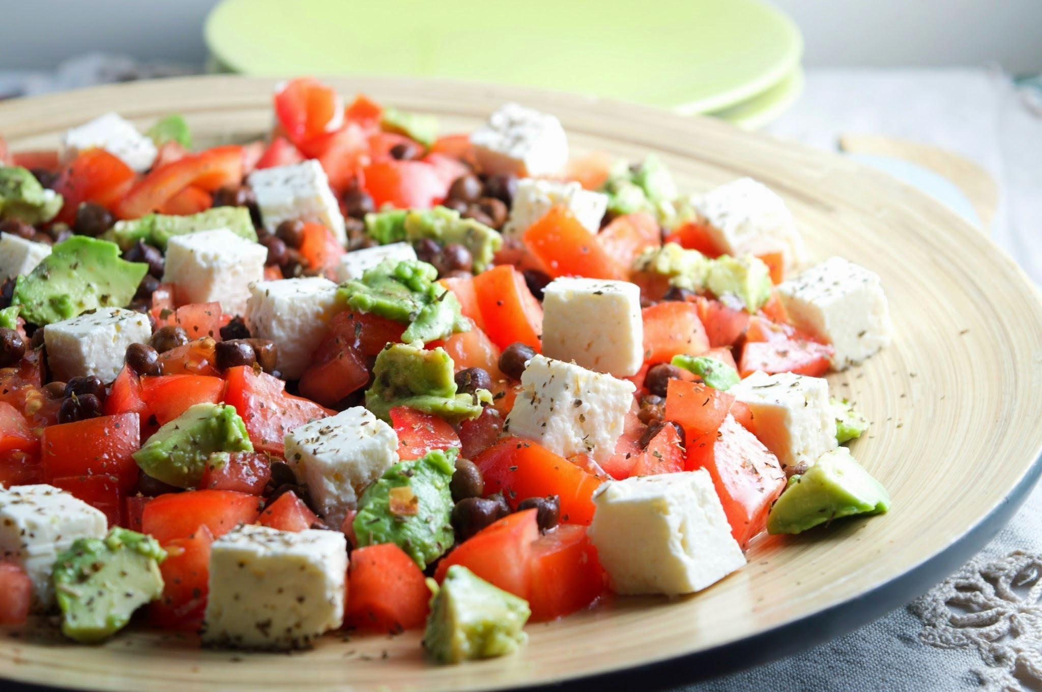 Meatless Monday: Chickpeas, Avocado & Feta Cheese Tomato Salad