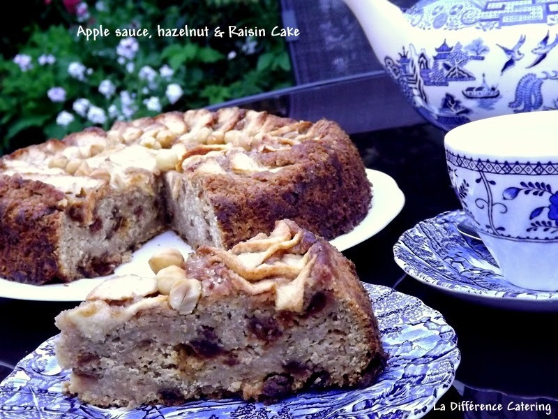 Apple Sauce, Hazelnut and Raisin Cake