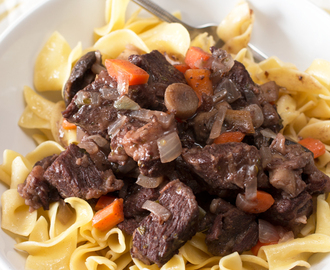 Braised Short Rib Stew with Red Wine & Mushrooms